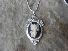 FLYING GUARDIAN ANGEL CAMEO PENDANT NECKLACE - RELIGIOUS - 925 PLATE CHAIN