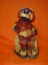 18 IN. CHAINSAW  BEAR CARVING WOODEN CRAVED BEAR STATUE  WOOD CRAFT