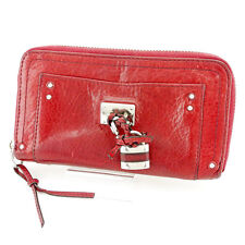 Chloe Wallet Purse Paddington Red Silver Woman unisex Authentic Used B894