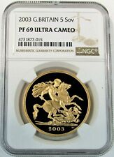 2003 GOLD GREAT BRITAIN 5 POUNDS SOVEREIGN COIN NGC PROOF 69 ULTRA CAMEO