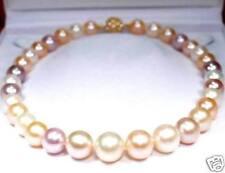 LUXUS 14mm Süsswasser Perlenkette Gelbgold plattierte Designer Schliesse (AZ9)