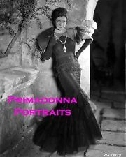 NORMA SHEARER 8X10 Lab Photo B&W '20s ELEGANT MERMAID GOWN & FAN PORTRAIT