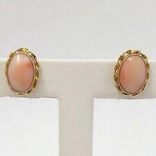 18k Yellow Gold Angel Skin Coral Oval Etruscan Style Stud Earrings 2.9gr