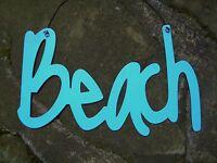 BEACH Metal Sign Seaside Tropical Paradise Ocean Blue Nautical Home Decor