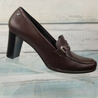 Etienne Aigner Womens Brown Leather Buckle Slip On Block Heels Pumps Sz US 8.5 M
