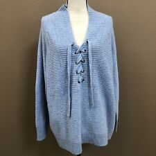Lucky Brand Misty Blue Lace Up Sweater NWT  Plus Size 2X