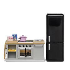 Lundby Dolls House Grey Kitchen Furniture 1:18 Gray Cooker Oven Fridge Set