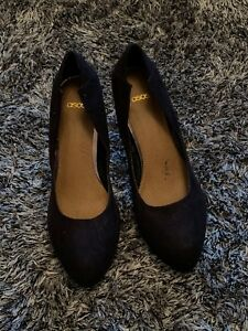 WORN ONCE- ASOS COURT SHOES - BLACK SUEDE LOOK - 6 39