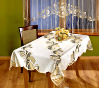 "Lace Tablecloth Cream Gold Beige Dining  NEW Rectangular Table Cloths 51"" x 67"""
