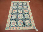 3' X 5' Vintage Indian Embroidery Hand Stitched KASHMIR Rug Wool Nice