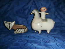MID CENTURY~LISA LARSON FOX FIGURINE-SMALL ZOO 1955 & CHILD ON POT BELLY HORSE