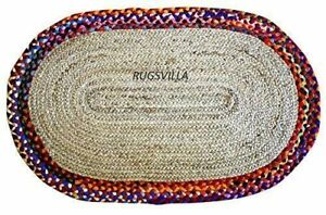 Jute Cotton Vintage 4x7 feet Handmade Vintage Reversible Oval Shaped classic rug