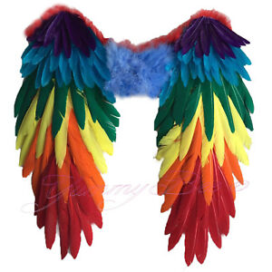 Wings Fancy Dress Rainbow Pride Large Halloween Parrot Feather Angel Bird Adult