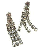 Vintage Rhinestone Chandelier Dangle Earrings, Pierced