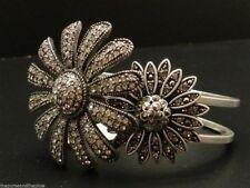 Fossil Bracelet Flower Cuff Nice Ice Silvertone Crystals New! NWT