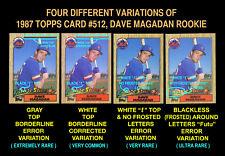 "1987 Topps #512 DAVE MAGADAN ROOKIE CARD (Mets) White ""t"" Top ERROR VARIATION"