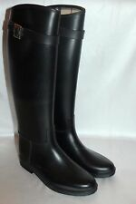 BURBERRY Black Rubber Plaid Equestrian Tall Buckle Rain Boot Sz 6 EU 37