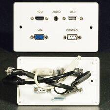 AV Wall Face Plate, HDMI / VGA video / Audio Jack / USB / Serial DB9 sockets