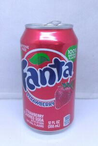 Empty Strawberry Fanta can; 355 ml /12 fl oz; TOP opened (USA)