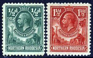 NORTHERN RHODESIA KG V 1925-29 ½d & 1½d. Elephant & Giraffe SG 1 & SG 3 MINT