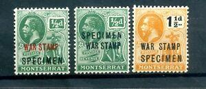 Montserrat 1917 & 1919 war stamp trio overprinted  SPECIMEN MLH. original gum