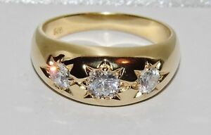 9ct Yellow Gold on Silver Antique Style Three Stone Men's Gypsy Ring ALL SIZES