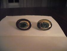 Stone Vintage Cuff Links Gold Tone & Green