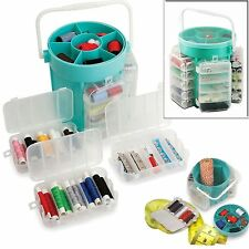 210 PC DELUXE SEWING KIT SET STORAGE CADDY BOX NEEDLES PINS + TAPE BUTTONS NEW