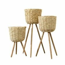 Handmade Bamboo Flower Pot Baskets Rattan Straw Patchwork Wicker Home Decoration
