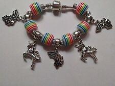 European Style Silver Bracelet - 5 Silver Charms & 6 Acrylic Beads - UNICORNS