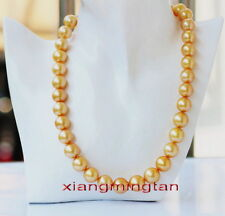 """TOP LUSTER 17""""9-12mm Natural real round south sea golden pearl necklace 14K gold"""
