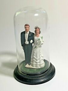 Vintage Ceramic Bride Groom Wedding Cake Topper in Glass Dome Made in Hong Kong