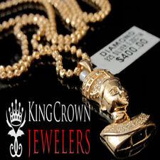 Ladies Genuine Real Diamond Queen Nefertiti Necklace Charm Pendant Charm Rose EP