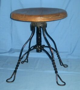 Vtg/Antique Country Farm Wood & Twisted Leg Metal Wrought Iron Stool!