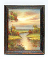 Country Sunset Stream 16 x 20 Art Oil Painting on Canvas w/ Custom Wood Frame