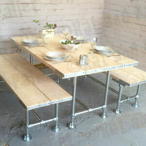 Table & Bench Made From Reclaimed Wood & Galvanised Pipe & Key Clamp Fittings