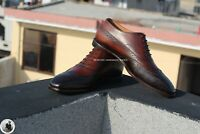 Scarpe stringate alate Oxford in pelle brogue marrone scuro fatte a mano da uomo