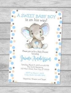 Elephant Baby Shower Invitation, Watercolor Elephant Custom Baby Boy Invites