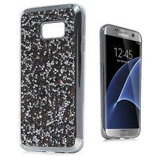 Samsung Galaxy S7 - HARD TPU RUBBER CASE COVER OBSIDIAN CRYSTAL DIAMOND STUDS