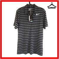 Nike Golf Mens Polo Shirt M Medium Dri-Fit Collared T-shirt Black Striped Tour