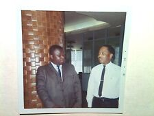 Vintage 60s Photo African Black Men Talking Business In Retro Office Buliding