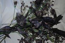 fabric flowers 10 stems black gray bouquet centerpiece bridal petals lot home