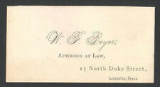 Business Trade Card W. F. Beyer, ATTORNEY AT LAW, Lancaster, Pennsylvania