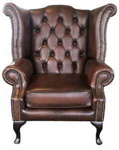 Chesterfield London Antique Brown Genuine 100% Leather Queen Anne Wing Chair