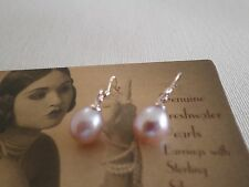 Deco PEARL drop earrings lilac 7-8mm Sterling 925 Silver Natural Cultured Pearls