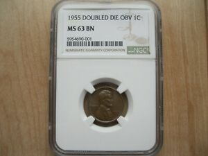 Exceptional Luster 1955 1C Lincoln Cent Penny NGC MS63 BN Doubled Double Die