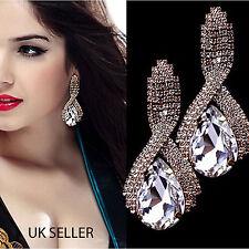 Fashion Gemstone Silver Gold Diamanté/Crystal Big Luxury Teardrop Earrings - Uk