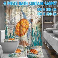Sea Turtles Waterproof Bathroom Shower Curtain Set Toilet Cover Mat Non-Slip Rug