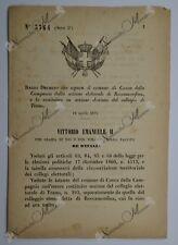 Regio Decreto - Separazione comune Conca della Campania da Roccamonfina - 1877