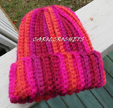 Crochet Messy Bun Hat Women fashion Pony Tail Beanie Mom Handmade rep pink orang